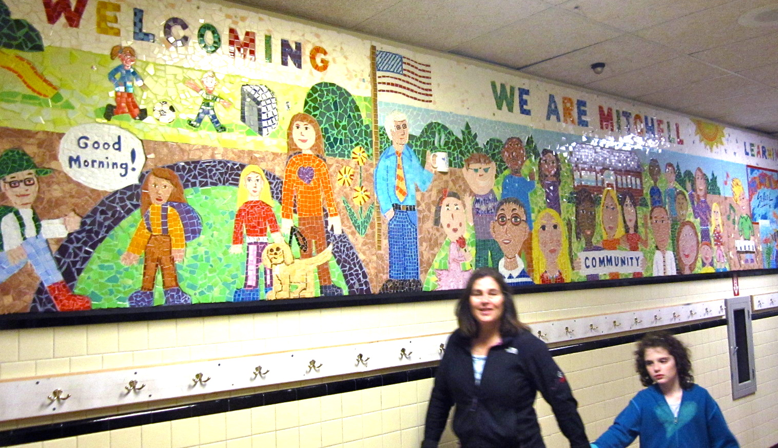 Here's our finished mosaic, on the wall in front of the cafeteria.